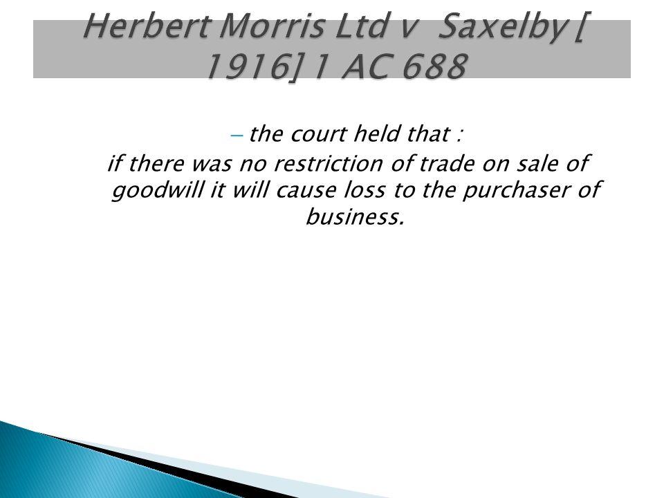 Herbert Morris Ltd v Saxelby [ 1916] 1 AC 688